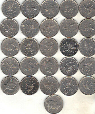 United Kingdom Lot Of 26 Ten Pence Coins 1992 +