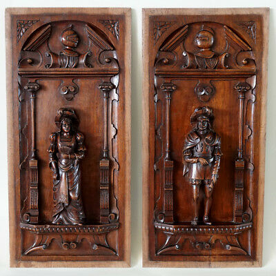 Pair Antique French Carved Wood Panels, Troubadour Style Figures
