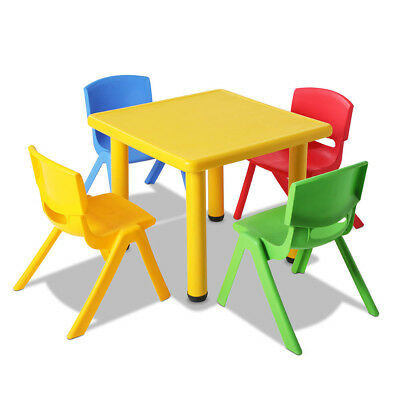 5 Piece Kids Study Table and Chair Set - Yellow