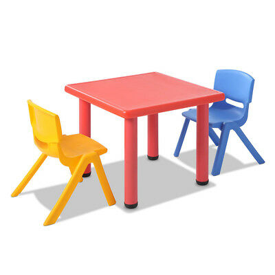 3 Piece Kids Study Table and Chair Set - Red