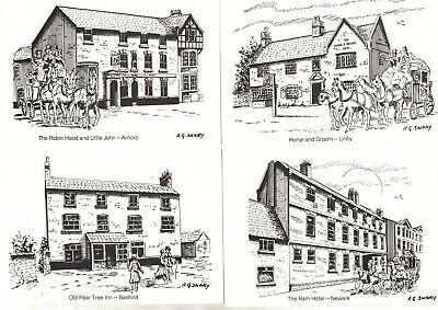 Various Midlands Postal Board Pubs/hotels Postcards X23 From Collection F4