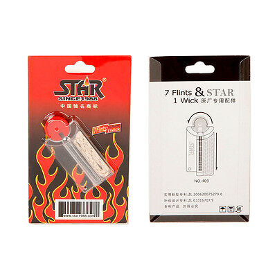 Star Brand 7 flints and replaceable wicks for all Windproof Oil Lighters Flint