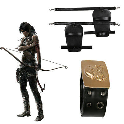 Tomb Raider Lara Croft Cosplay Belt Holster Costume Props Leather Halloween Cool