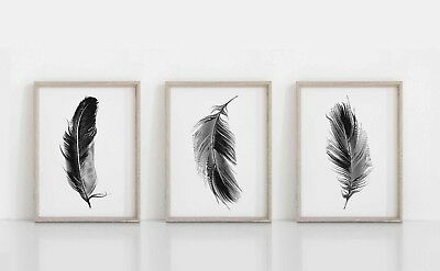 Set of 3 Feathers Wall Art Prints, Black & White Feather Poster Minimalist Print