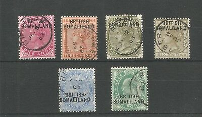 Range of early British Somaliland stamps with various postmarks QV - EDVII