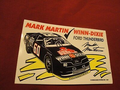 MARK MARTIN WINN-DIXIE FORD THUNDERBIRD vintage racing sticker decal