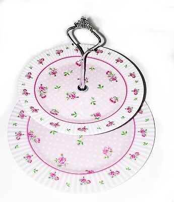 Vintage Pink Chintz 2 Tier Cake Stand, 2 china plates and fixings Ditsy Roses