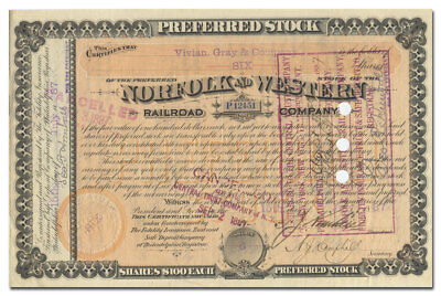 Norfolk and Western Railroad Company Stock Certificate