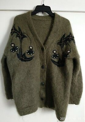 Vintage mohair cardigan 80's olive leather buttons sequin and fabric embroidery
