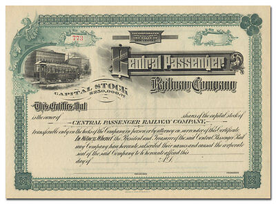 Central Passenger Railway Company Stock Certificate