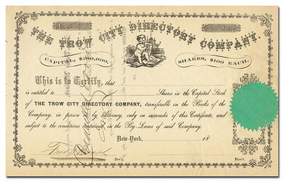Trow City Directory Company Stock Certificate (1800's, New York)