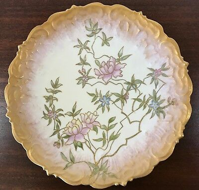 "Antq/vtg Limoges France Hand Painted Lotus Blossom Cabinet Plate 9.5"" Heavy Gold"
