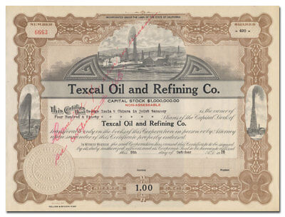 Texcal Oil and Refining Company Stock Certificate