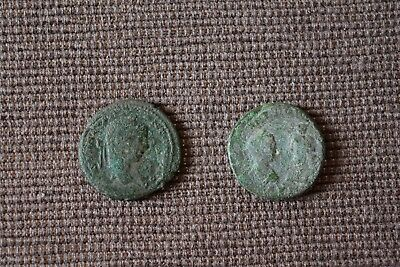Lot Of 2 Rare Ae Ancient Roman Provincial Coins Good Quality Uncleaned