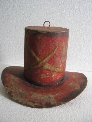 b3d5e2be30f5cc OLD IRON HAT Trade Sign Store Display , Red Hat . Swords Embossed ...