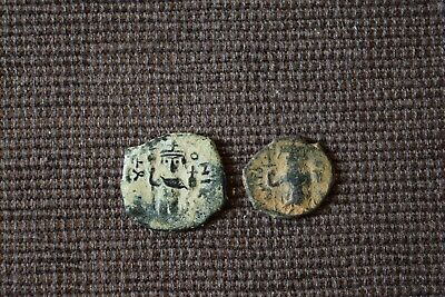 Lot Of 2 Rare Ae Ancient Arab Byzantine Coins Good Quality Desert Patina 3