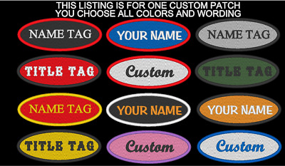 """CUSTOM EMBROIDERED OVAL NAME TITLE PATCH 1 1/2 x 4"""" BIKER VEST TAG MADE IN USA"""