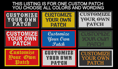 """CUSTOM EMBROIDERED PATCH 2X4"""" NAME TAG SAYING MOTORCYCLE BIKER BADGE USA Made"""