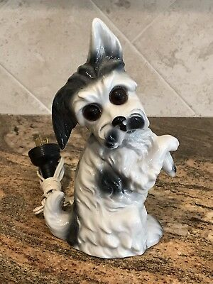 Vintage porcelain perfume lamp begging white and black Terrier dog With Cord
