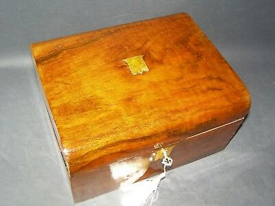 Antique Domed Document Box Working Lock & Key C1880  Brass Shield Center Piece