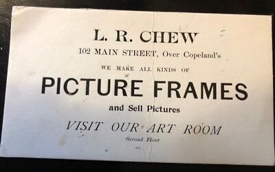 Vintage advertising card: L. R. Chew, Picture Frames / Art, Northampton, MA