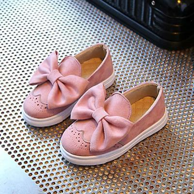 Baby Girls Suede Bowknot Loafers Princess Boat Shoes Slip On Soft Flat Shoes H