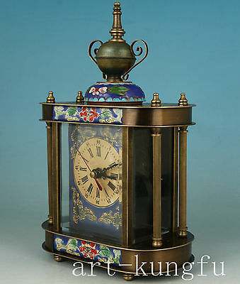 Chinese Cloisonne Bronze mechanical Statue Watch horologium colck ONLY ONE