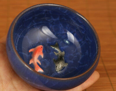 Blue Porcelain Hand Carving Fish Collect Kungfu Tea kungfu Cup Bowl glass gift