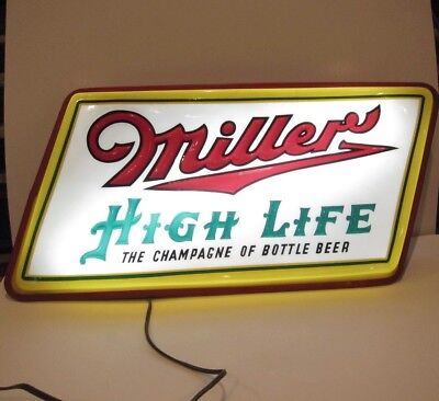 Miller High Life Champagne of Bottle Beer Vintage Lighted Beer Sign 1950 Rare