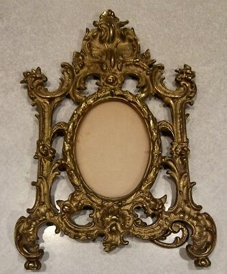 Vintage Ornate Solid Brass Picture Frame Glass Cover With Stand Heavy