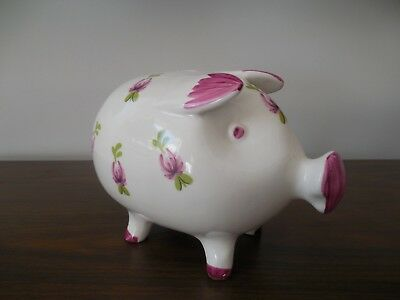 Vintage Pink Ceramic Piggy Bank w/ Pink Flowers Very Good Condition