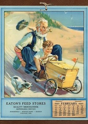 1940 Calendar SOAP BOX DERBY w/ Grandpa & Dog OREGON EATON'S FEED STORE