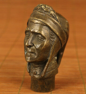 Rare Usable Bronze Hand Carved Europe Statue Walking Stick Head figure noble art