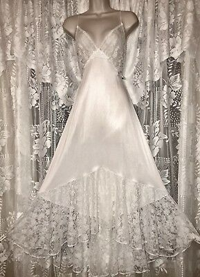 VTG Bridal Snow White Sheer Lace Bodice Mermaid Hem Nightgown Negligee Gown 3X