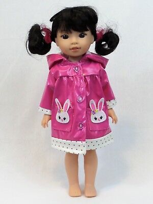 "Pink Bunny Rabbit Raincoat Fits Wellie Wishers 14.5"" American Girl Clothes"