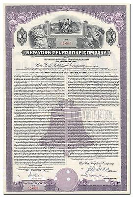 New York Telephone Company Bond Certificate - Washington's Headquarters Vignette