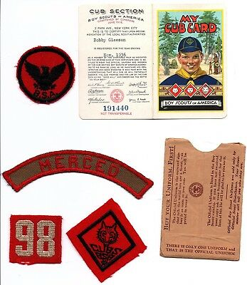 1930s 1936 Boy Cub Scout Patches Neckerchief Troop 98 Merced, CA Membership Card