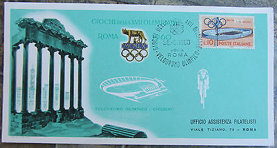 Roma 1960-Olympic Games-Commemorative Postcard-Cycling-Ciclismo