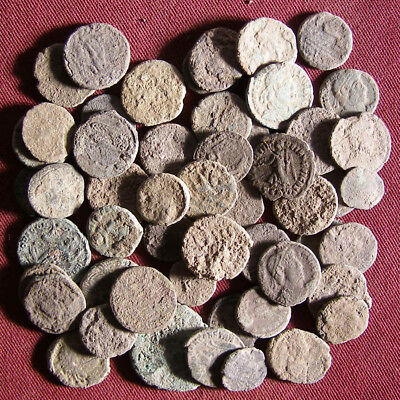 Lot of 50 Uncleaned Late Roman Bronze Coin