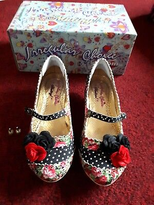 Irregular choice size 6 used in box black white red polka dots floral