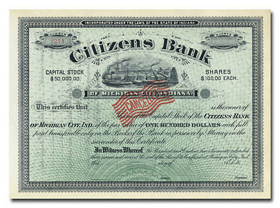 Citizens Bank of Michigan City, Indiana Stock Certificate