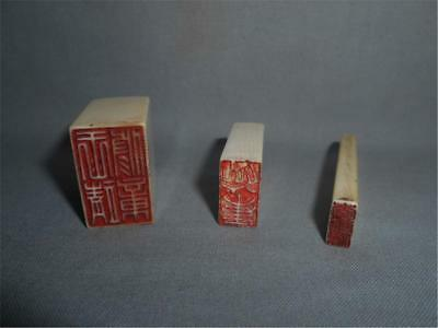 Antique China TOP THREE HIGH AGED USED SEAL STAMPS WITH CHARACTERS