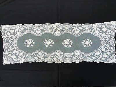 """Antique French Lace Ecru Table Runner 34 X 12"""""""