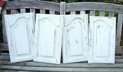 4 Vtg ARCHITECTURAL SALVAGE White Shabby Chippy Arched Cabinet Doors (2 Pairs)