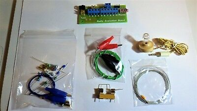 Solderless crystal radio kit evaluation board with germanium diode- cats whisker