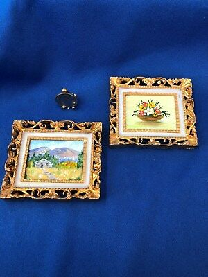 Dollhouse Miniature Artist Signed Pair of Framed Watercolor Paintings 1:12