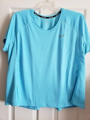 Nike Women's Dri Fit Plus Light Blue Short Sleeve Training Shirt 3X 3XL XXXL