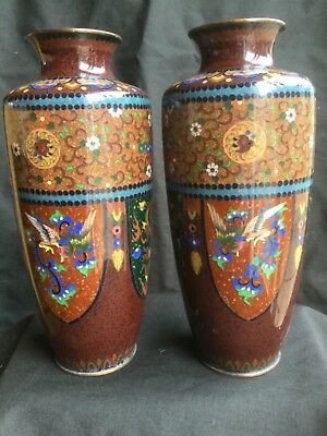 LOVELY ANTIQUE JAPANESE GINBARI CLOISONNE VASES ( 8 1/2 Inches Tall )