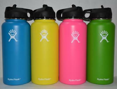 Hydro Flask Water Bottle Insulated Stainless Steel Wide Mouth Cap Straw Drinking