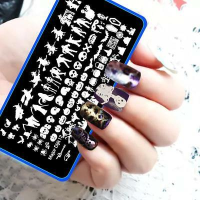 Nail Art Stamping Plates Image Plate HALLOWEEN Spiders Web Witch Skull Bats MD12